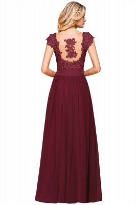 Burgundy Cap sleeves Lace Evening Gowns with Appliques | Cheap Chiffon Long Mother of the bride dress_15
