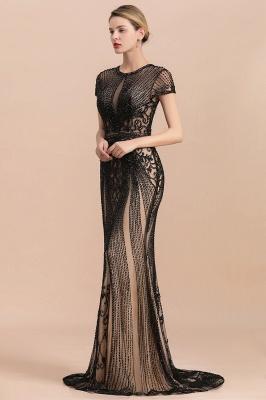 Robe de bal sirène noire de luxe recouverte de perles_6