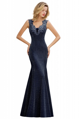 Sparkly Deep V-neck Long Evening Dresses | Elegant Flowers Neck Sleeveless Pink Floor-length Formal Dress_5