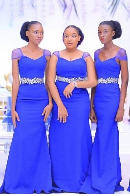 Cheap Sweetheart Neckline Cap Sleeves Floor Length Bridesmaid Dress With A Belt Of Leaves Pattern | Royal Blue Wedding Party Prom Dresses