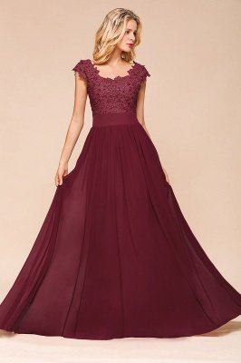 Burgundy Cap sleeves Lace Evening Gowns with Appliques | Chiffon Long Mother of the bride dress_9
