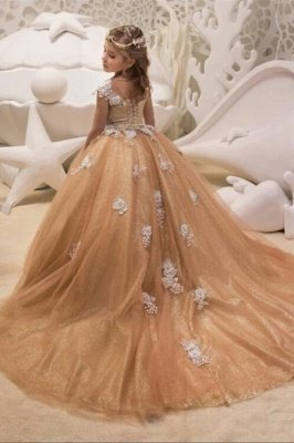 Lovely Long Champagne Cap Sleeves Flower Girl Dresses WIth Lace Up| Jewel Tulle Kids Dresses For Wedding_4
