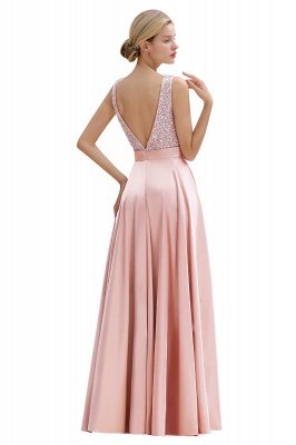 Arik | Simple Pearl pink Sequined Belt Pleats Long Prom Dress_15