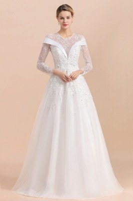 Modest White Beaded Appliques Long Sleeves Round neck Floor length Lace Wedding Dress