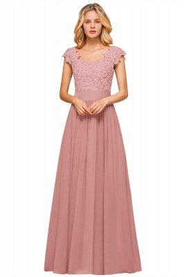 Burgundy Cap sleeves Lace Evening Gowns with Appliques | Chiffon Long Mother of the bride dress_2