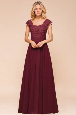 Burgundy Cap sleeves Lace Evening Gowns with Appliques | Chiffon Long Mother of the bride dress_13