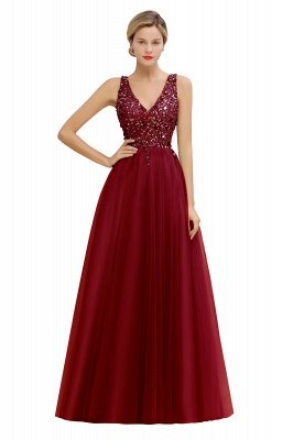 Abina | Sexy V-neck Sparkly Beaded Low Back Prom Dress with Gemstones_2