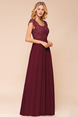 Burgundy Cap sleeves Lace Evening Gowns with Appliques | Chiffon Long Mother of the bride dress_12