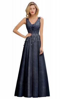Rebacca | A-Line V-neck Floor-Length Tulle Sequined Prom Dresses_5