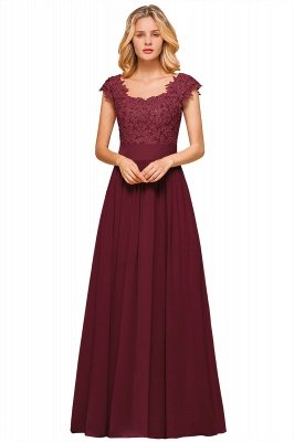 Burgundy Cap sleeves Lace Evening Gowns with Appliques | Chiffon Long Mother of the bride dress_3