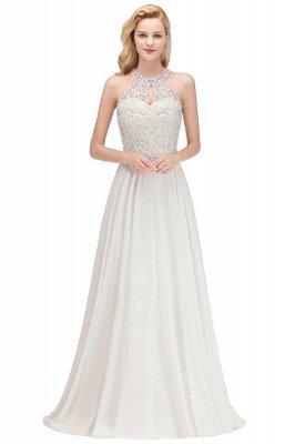 Vestidos de dama de honor de una línea halter con cuentas de peras rosas modestas_14