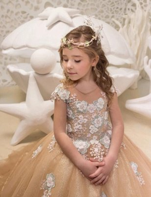 Lovely Long Champagne Cap Sleeves Flower Girl Dresses WIth Lace Up| Jewel Tulle Kids Dresses For Wedding_3