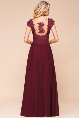 Burgundy Cap sleeves Lace Evening Gowns with Appliques | Chiffon Long Mother of the bride dress_10