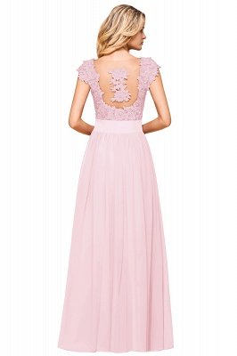 Burgundy Cap sleeves Lace Evening Gowns with Appliques | Chiffon Long Mother of the bride dress_24