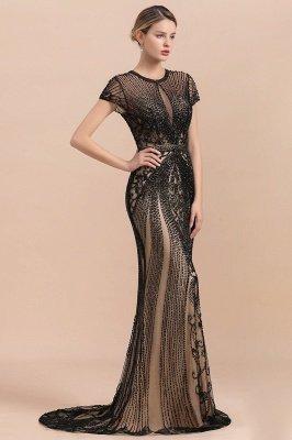 Robe de bal sirène noire de luxe recouverte de perles_4
