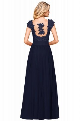 Burgundy Cap sleeves Lace Evening Gowns with Appliques | Chiffon Long Mother of the bride dress_25