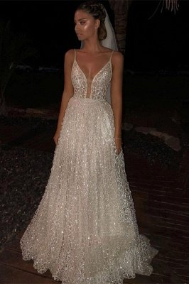 Sparkly White Spaghetti-Strap A-Line Sequins Wedding Dress | Shining Long Prom Gowns