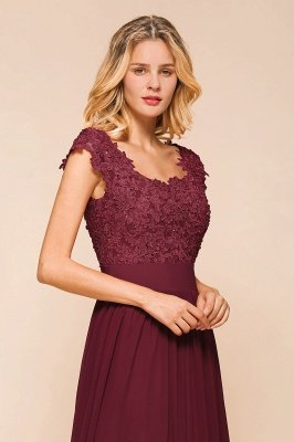 Burgundy Cap sleeves Lace Evening Gowns with Appliques | Chiffon Long Mother of the bride dress_8