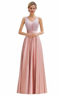 Arik | Simple Pearl pink Sequined Belt Pleats Long Prom Dress_14