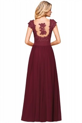 Burgundy Cap sleeves Lace Evening Gowns with Appliques | Chiffon Long Mother of the bride dress_15