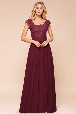 Burgundy Cap sleeves Lace Evening Gowns with Appliques | Chiffon Long Mother of the bride dress_6