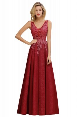 Rebacca | A-Line V-neck Floor-Length Tulle Sequined Prom Dresses_2