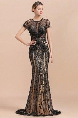 Robe de bal sirène noire de luxe recouverte de perles_5