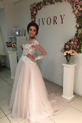 Princess Elegant Long Sleeve Tulle Bridal Gowns | Gorgeous Lace Applique Wedding Dresses