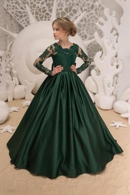 Newest Satin Dark Green Jewel Lace Backless Flower Girl Dresses With Bow| Long Sleeves Floor Length Girl Party Dresses