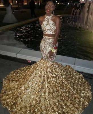 Halter Two-piece Golden Appliques Mermaid 3D-floral Train Prom Dresses_2