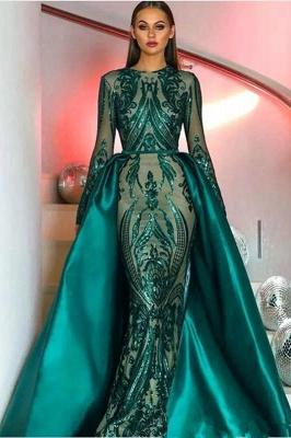 Изумрудно-зеленое платье для выпускного с длинными рукавами Mermaid_1