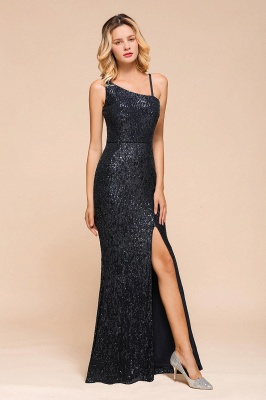 Timeless Black Sequined One shoulder Column High Split Prom Dress_6