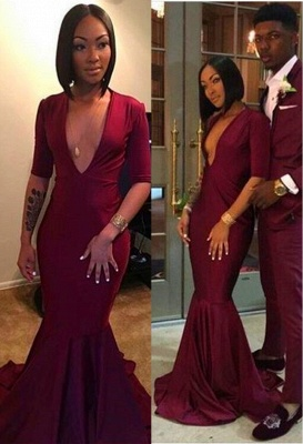 Sexy V-neck Burgundy Long Mermaid Prom Dresses with Sleeves_1