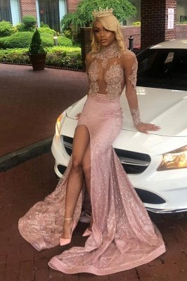 Sexy Dusty Pink Long Sleeves Lace Appliques 2020 High Split Sequined Long Prom Dress_1
