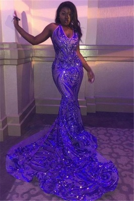 V-neck Sleeveless Sequins Mermaid Long Train Shining Prom Dresses_1
