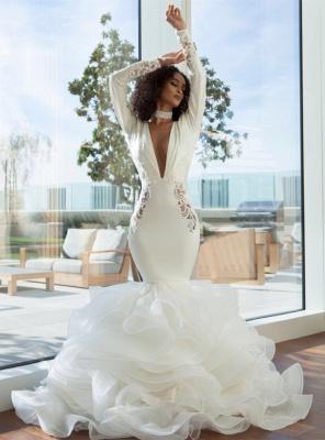 Sexy sereia profundo decote em v estiramento de cetim e organza empilhada furada volta vestidos de noiva com apliques de renda | Vestidos de noiva baratos até o chão_4