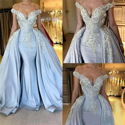 Fashion Off The Shoulder V Neck Mermaid Beading Appliqued Prom Dresses With Overskirt | Cheap Blue Sleeveless Long Party Gowns_2