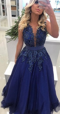 Elegant V Neck Lace Appliqued  Sleeveless Prom Dresses With Bowknot Beads Waistband | Royal Blue Floor Length Beading Evening Gowns_3