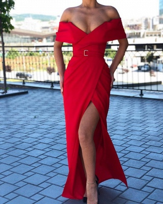 Chic Ruby Off-the-shoulder High Split Affordable Mermaid Evening Gowns_2