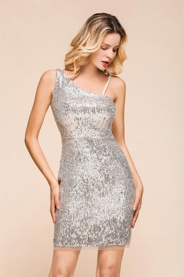 Shining Silver Sequined One shoulder price Short Cocktail Dress in Mini length_6