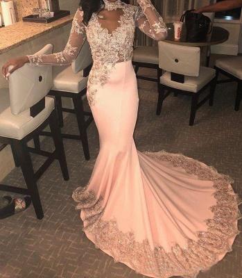 Trendy Long Sleeves Appliques Pink Mermaid Abendkleider_2