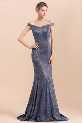 Elegant Off-the-shoulder Sparkly Sequin Long Gray Prom Dress with Floor length Train_6