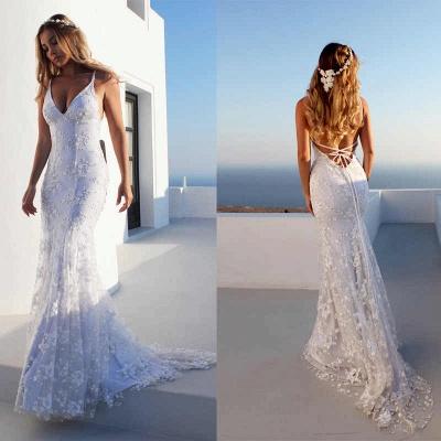 Облегающие платья длиной до пола, кружева V-образным вырезом спагетти с открытой спиной Платья для выпускного   Дешевые платья с кружевом_5