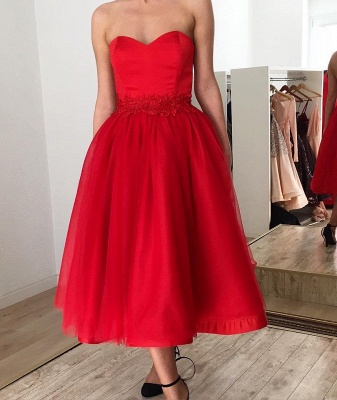Ruby Sweetheart Short Ankle-length Homecoming Dress with Belt_2