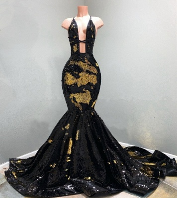 Sexy Hollow Neckline Gold and Black Long Train Mermaid Evening Dresses_2