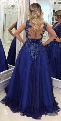 Elegant V Neck Lace Appliqued  Sleeveless Prom Dresses With Bowknot Beads Waistband | Royal Blue Floor Length Beading Evening Gowns_4