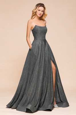 April | Strapless A-line High Slit Gray Shiny Sequined Prom Dress_8