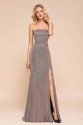 Elegant Strapless Belt Stormy Zipper up High Split Prom Dress_7