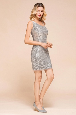 Shining Silver Sequined One shoulder price Short Cocktail Dress in Mini length_7