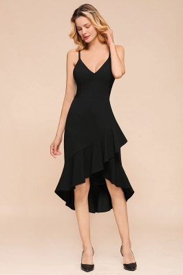 Arnold | Sexy V-neck Spaghetti Strap Ruffles Little Black Dress_5
